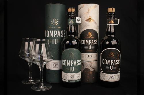 Rinkinys Švyturio Compass IV bei Compass V ir 2 taurės